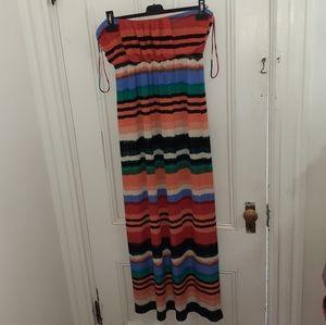Bundle! Strapless striped multi color maxi dress